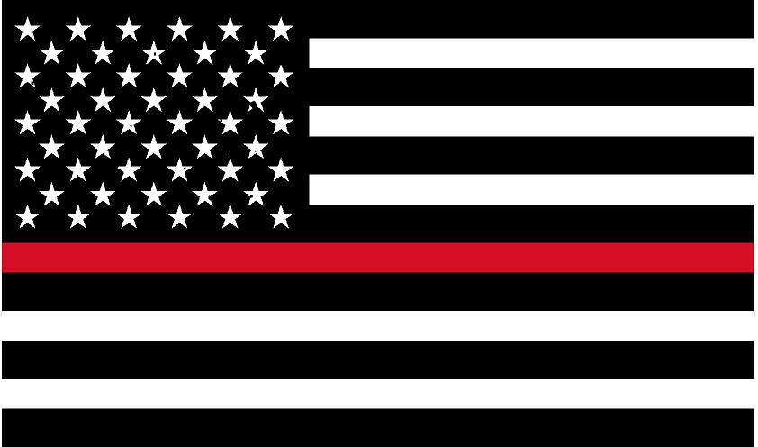 "5"" American BW Flag Thin Red Line Shape Sticker Decal"