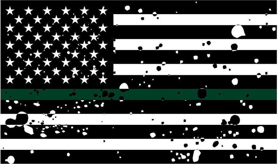 "5"" American BW GRUNGE Flag Thin Green Line Shape Sticker Decal"