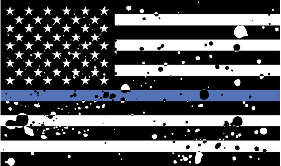 "5"" American BW GRUNGE Flag Thin Blue Line Shape Sticker Decal"