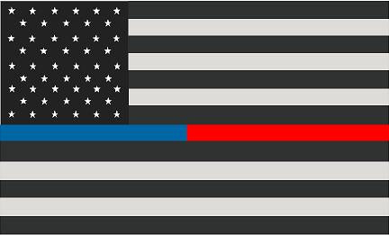"5"" American Subdued Flag Thin Blue / Red Line Shape Sticker Decal"