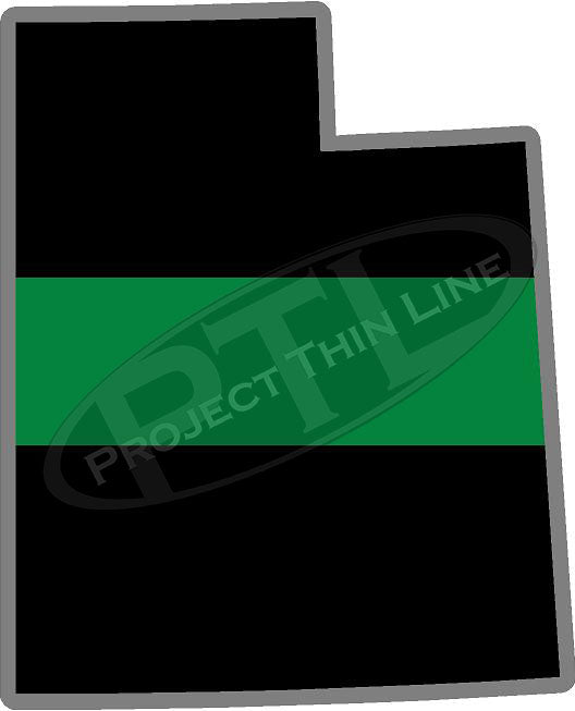 "5"" Utah UT Thin Green Line Black State Shape Sticker"