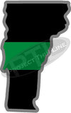 "5"" Vermont VT Thin Green Line Black State Shape Sticker"