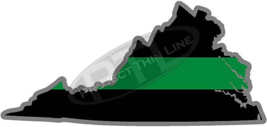 "5"" Virginia VA Thin Green Line Black State Shape Sticker"
