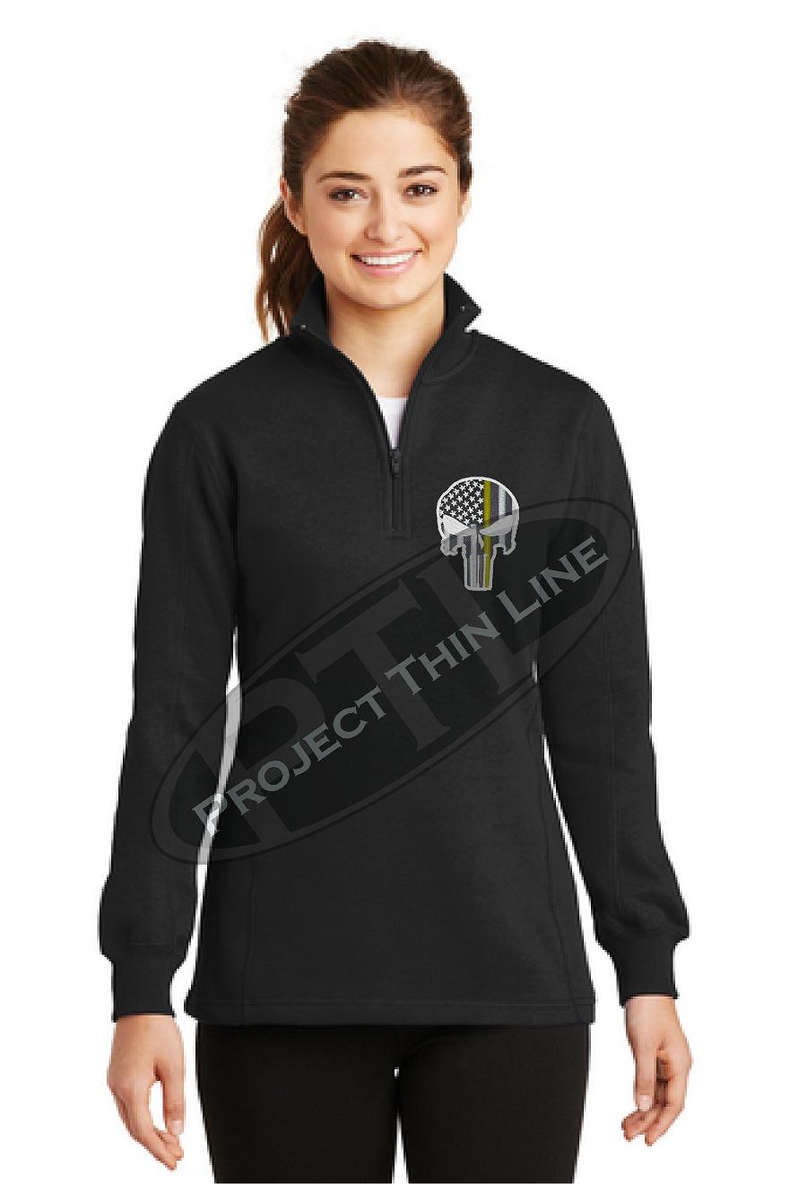 Black 1/4 Zip Micofleece Long Sleeve Sweatshirt Punisher Skull with Thin Gold Line Subdued American Flag
