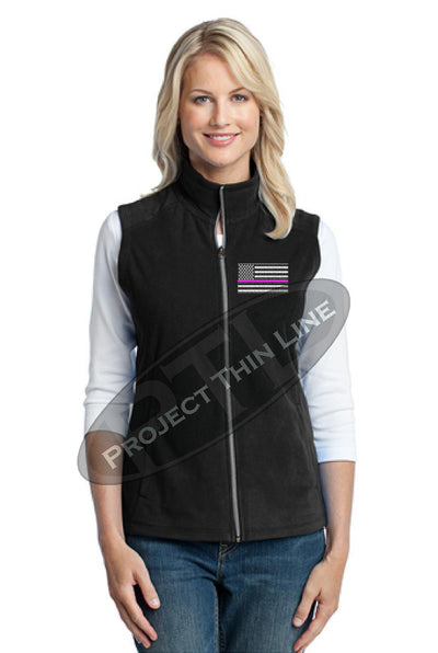 Black Womens embroidered Thin Pink Line American Flag Microfleece Vest