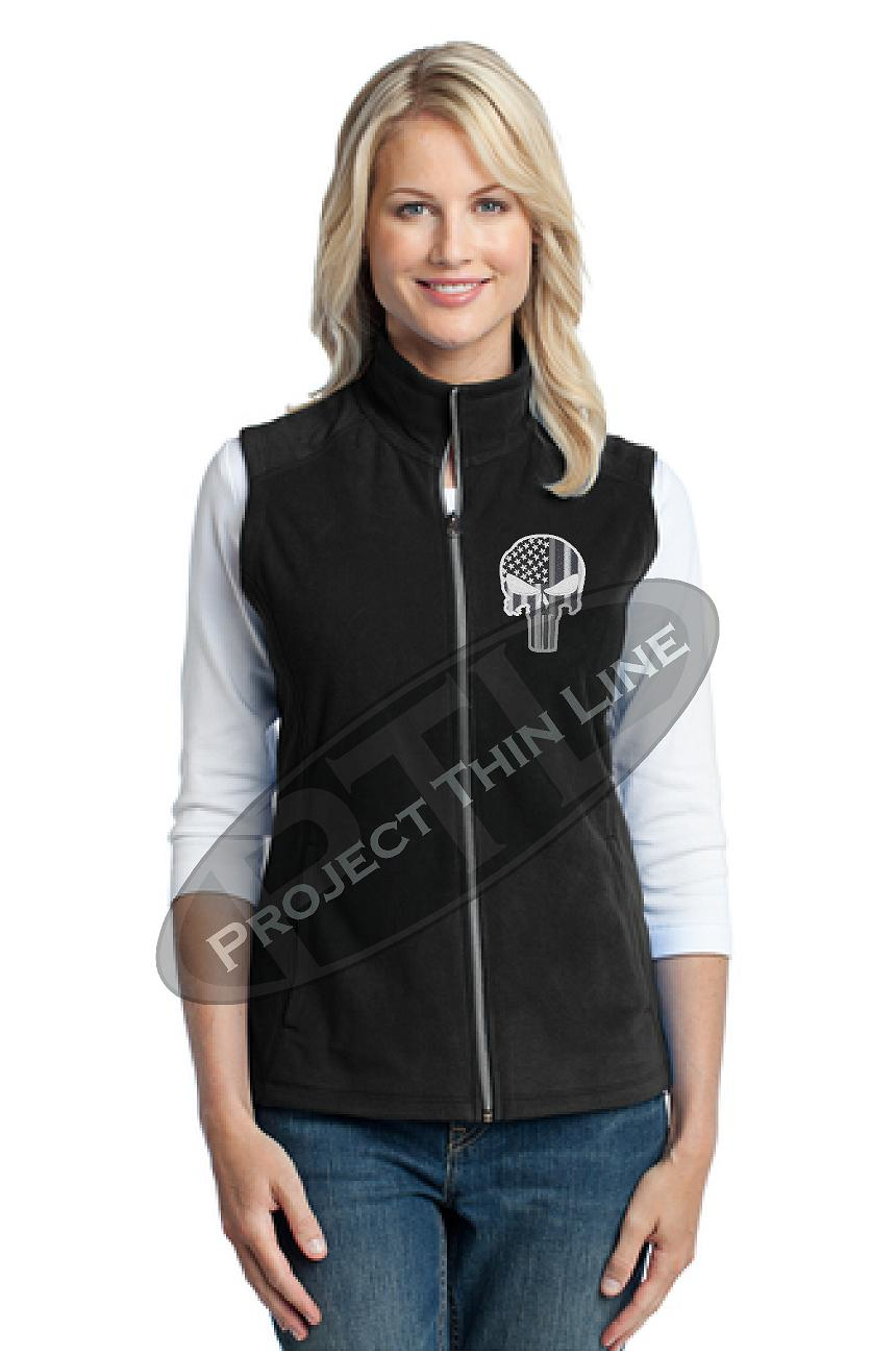 Ladies Thin Silver Line Punisher Skull 1/4 Zip Fleece BLACK Sweatshirt