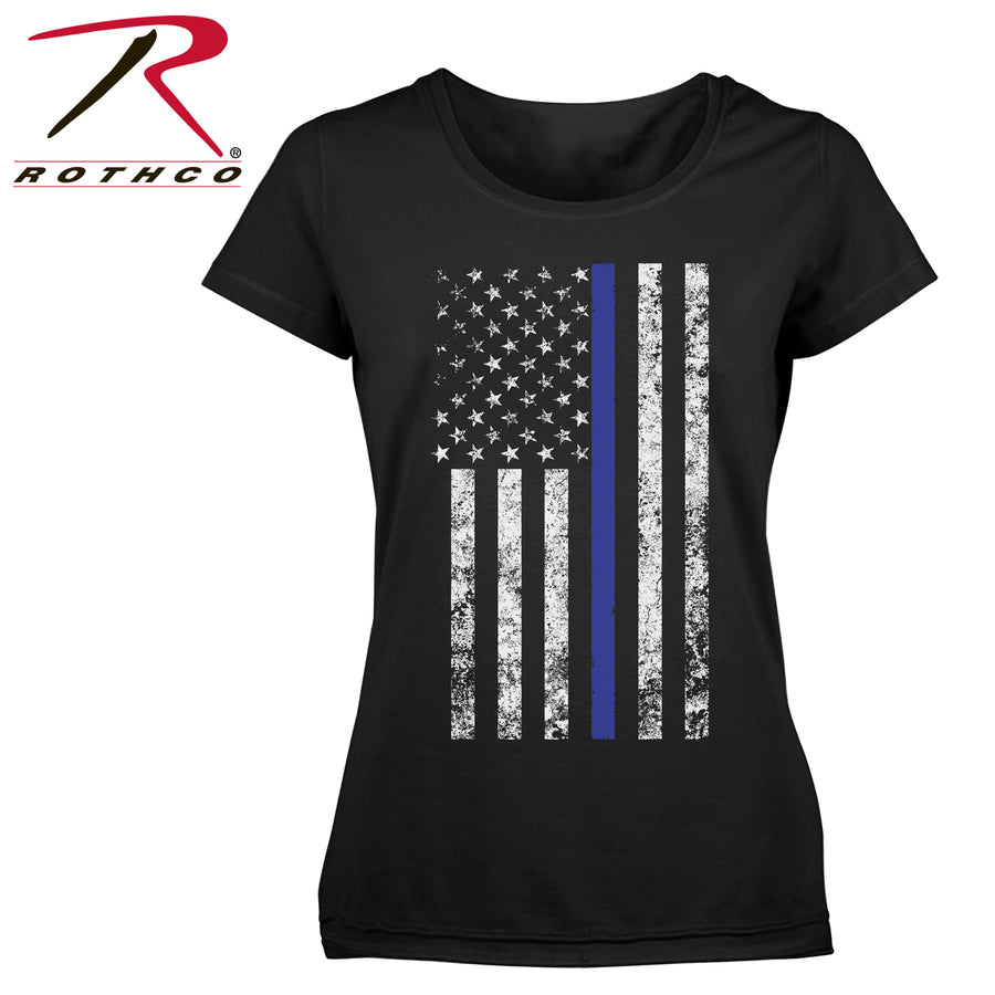 Rothco Women's Thin Blue Line Short Sleeve Tattered Veritcal Flag T-Shirt