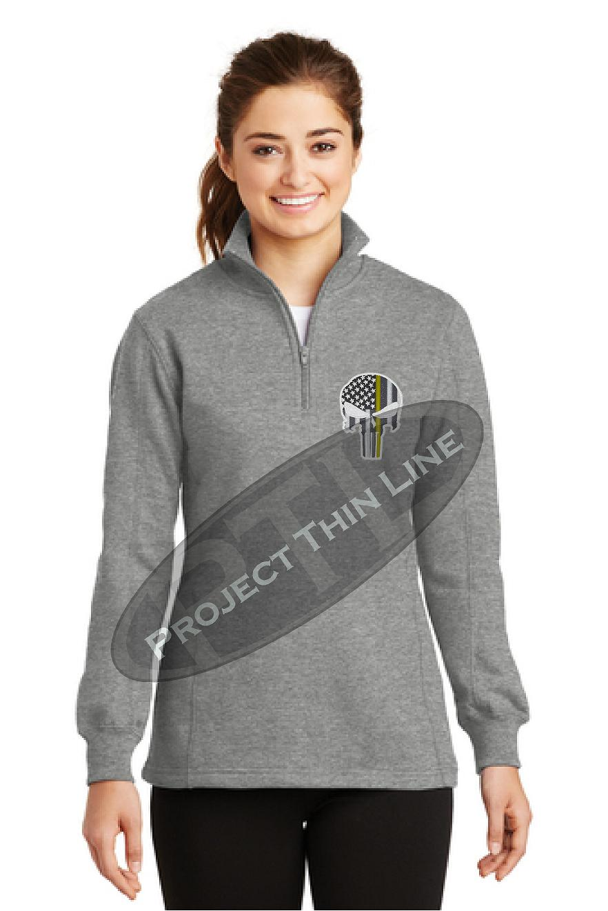 Womens Grey 1/4 zip Punisher Skull with Thin Gold line inlayed Subdued American Flag