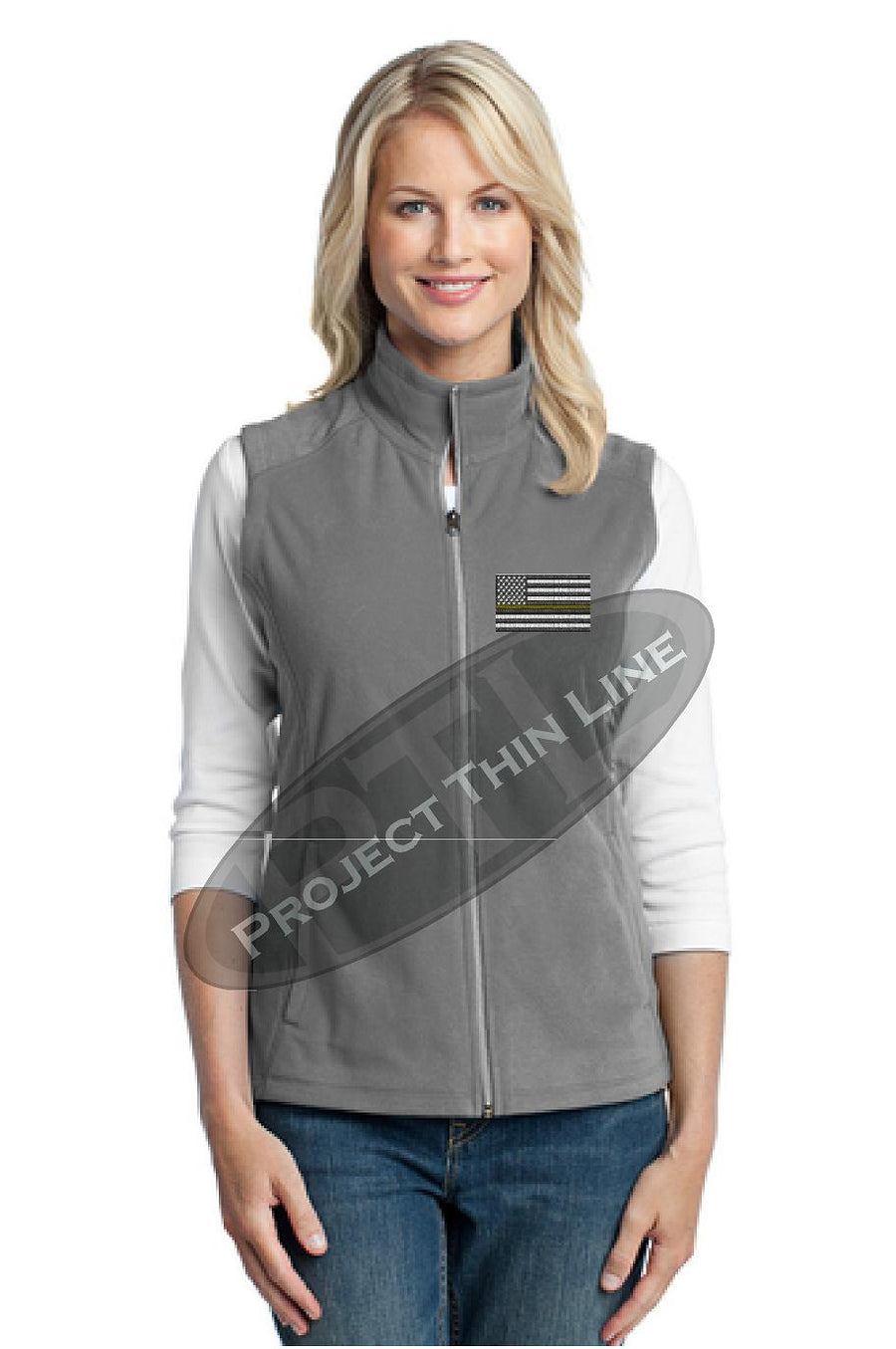 Ladies Grey Microfleece Vest with Thin Gold Line Subdued American Flag