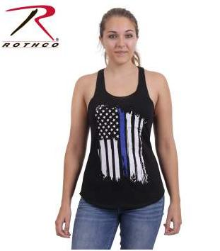 Rothco Women's Thin Blue Line Tattered Vertical Flag Racerback Tank Top
