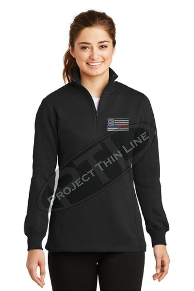 Black Ladies Embroidered Thin Blue / Red Line American Flag 1/4 Zip Fleece Sweatshirt