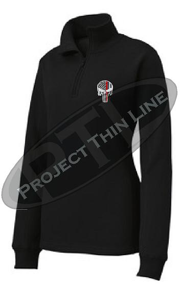 Black Women's Thin Red Line Punisher Skull 1/4 Zip Fleece Sweatshirt