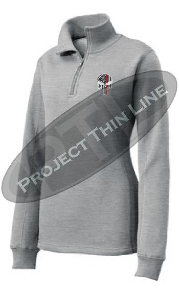 Light Grey Women's Thin Red Line Punisher Skull 1/4 Zip Fleece Sweatshirt