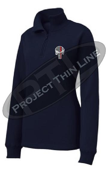 Blue Women's Thin Red Line Punisher Skull 1/4 Zip Fleece Sweatshirt