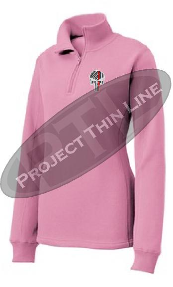 Pink Women's Thin Red Line Punisher Skull 1/4 Zip Fleece Sweatshirt