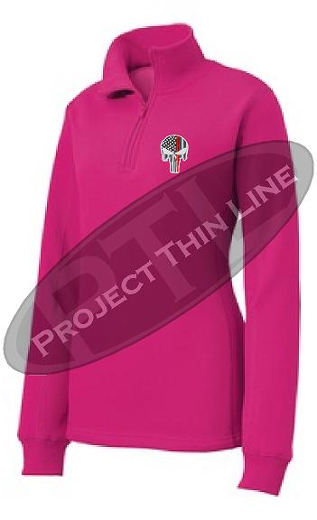 Pink Rush Women's Thin Red Line Punisher Skull 1/4 Zip Fleece Sweatshirt