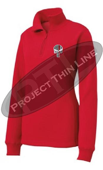 Red Women's Thin Red Line Punisher Skull 1/4 Zip Fleece Sweatshirt