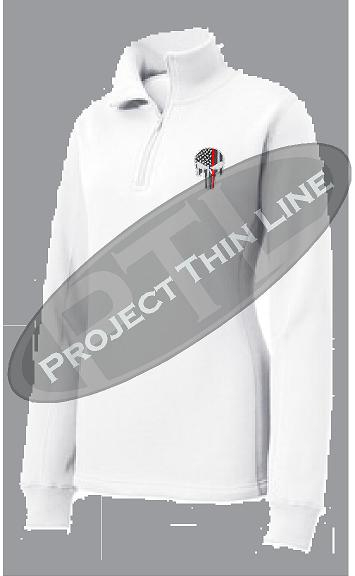 White Women's Thin Red Line Punisher Skull 1/4 Zip Fleece Sweatshirt