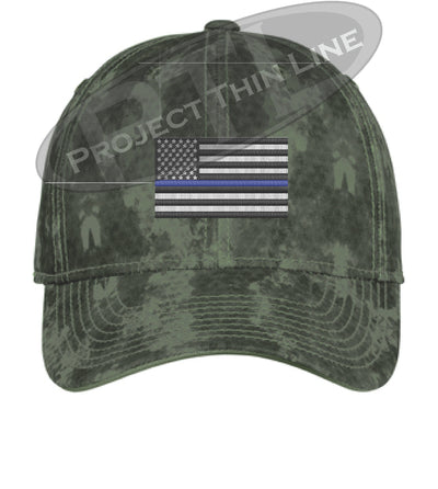 Green Washed Camo Thin Blue Line American Flag Flex Fit Fitted Hat