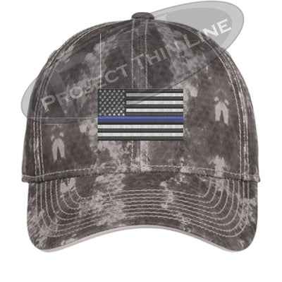Grey Washed Camo Thin Blue Line American Flag Flex Fit Fitted Hat
