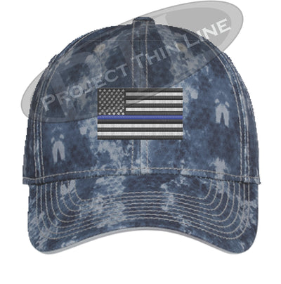 Navy Blue Washed Camo Thin Blue Line American Flag Flex Fit Fitted Hat