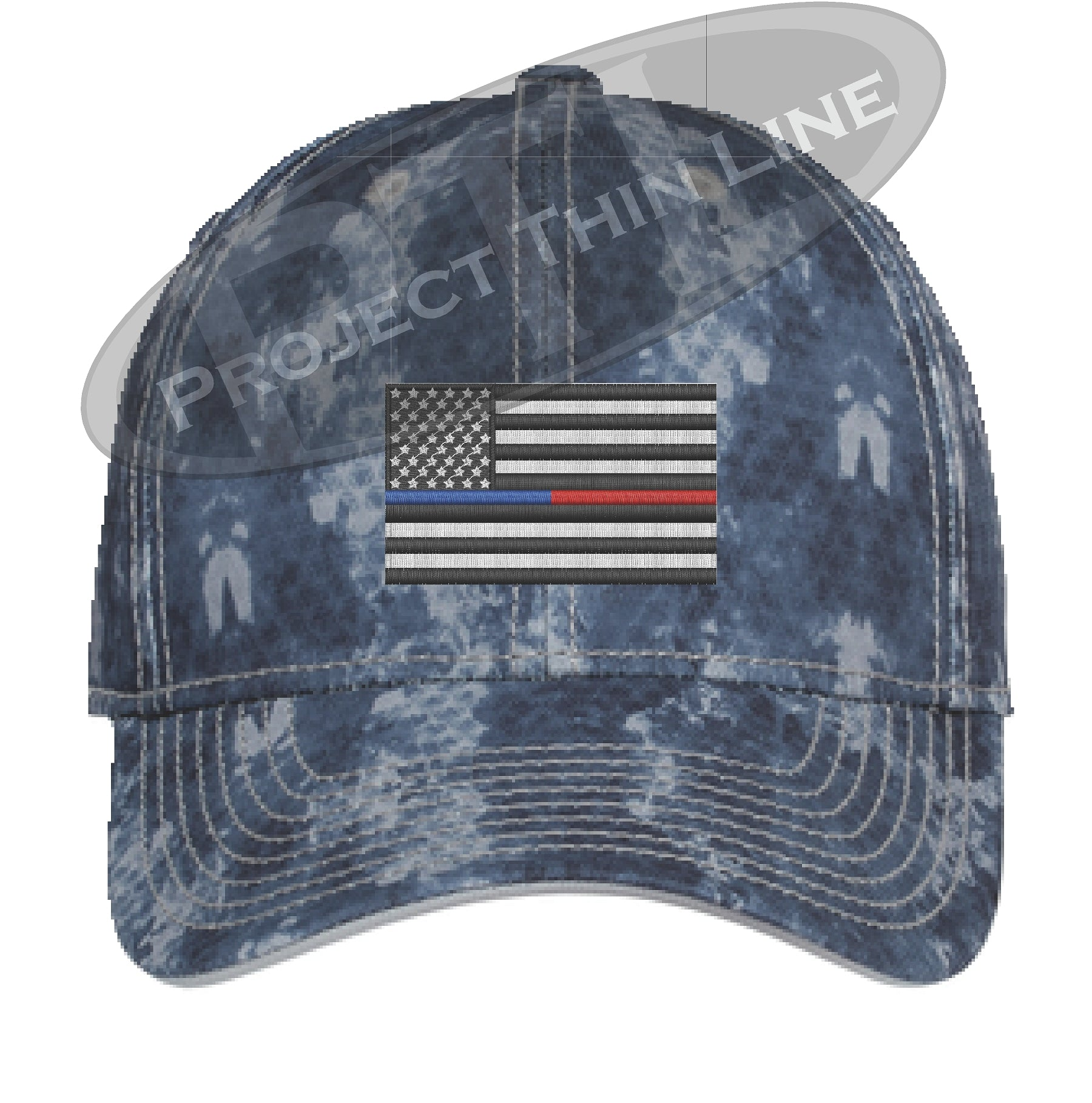 8643afa2c07583 Navy Washed Camo Thin Blue / Red Line American Flag Flex Fit Fitted Hat