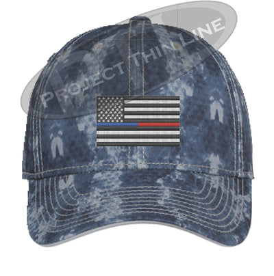 Navy Washed Camo Thin Blue / Red Line American Flag Flex Fit Fitted Hat