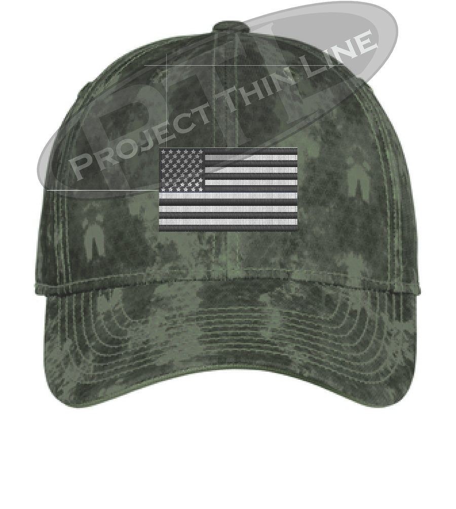GREY Washed Camo Embroidered Tactical / Subdued American Flag Flex Fit Fitted Hat