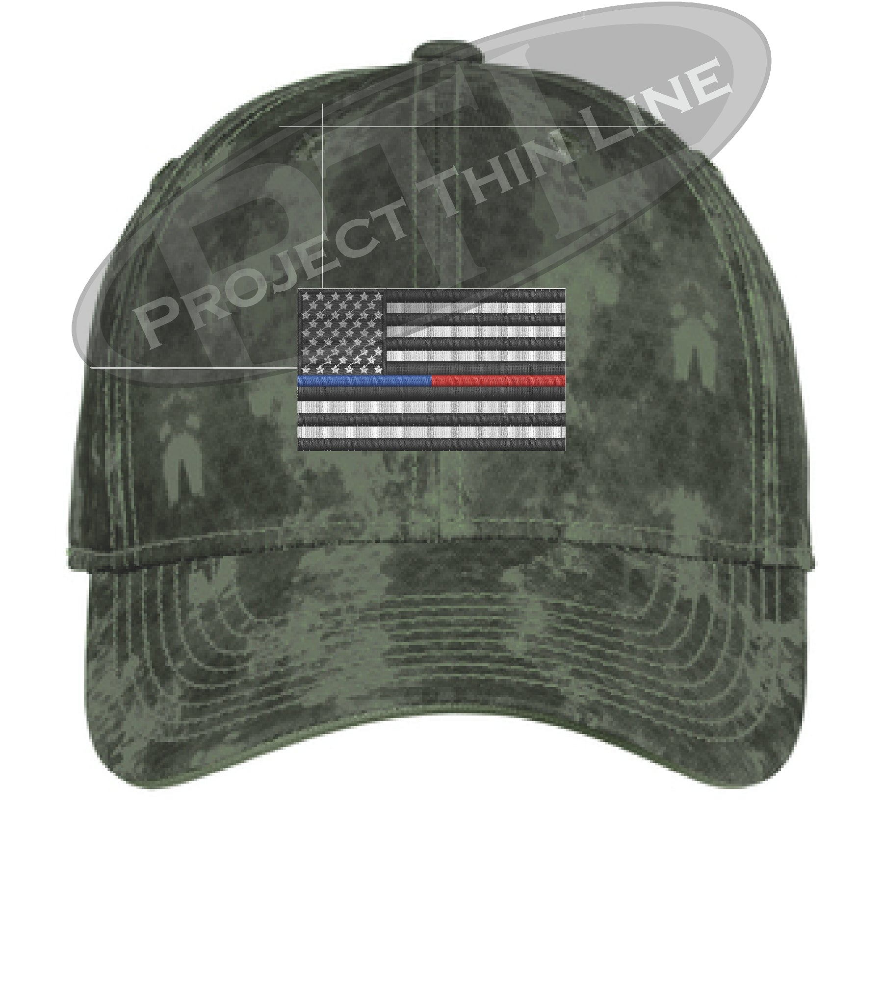 88c2a65ffeeed3 Green Washed Camo Thin Blue / Red Line American Flag Flex Fit Fitted Hat