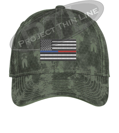 Green Washed Camo Thin Blue / Red Line American Flag Flex Fit Fitted Hat