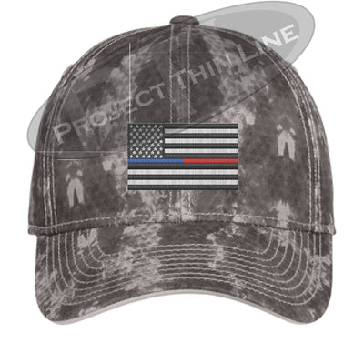 Grey Washed Camo Thin Blue / Red Line American Flag Flex Fit Fitted Hat