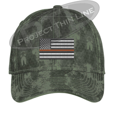 Green Washed Camo Thin ORANGE Line American Flag Flex Fit Fitted Hat