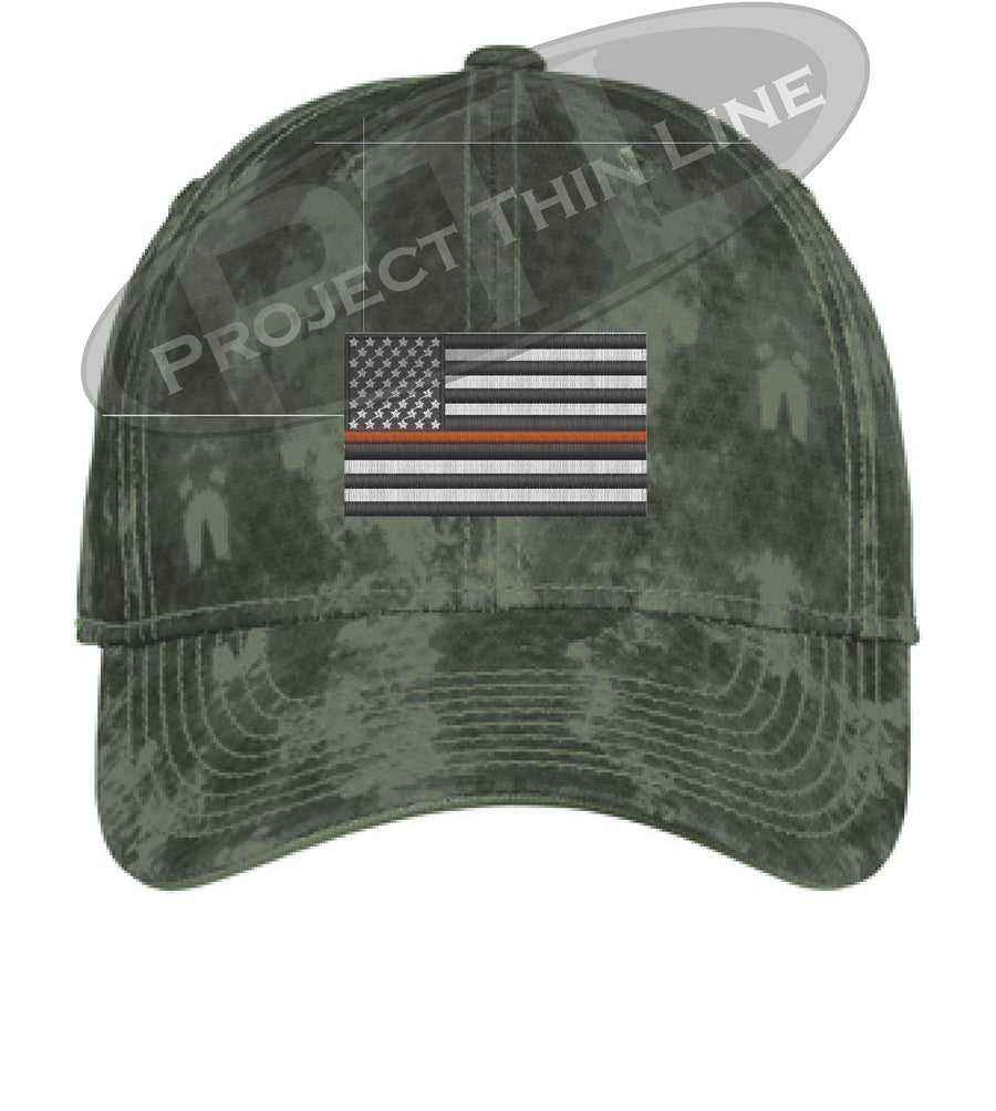 Washed Camo Thin ORANGE Line American Flag Flex Fit Fitted Hat