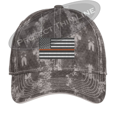 Grey Washed Camo Thin ORANGE Line American Flag Flex Fit Fitted Hat