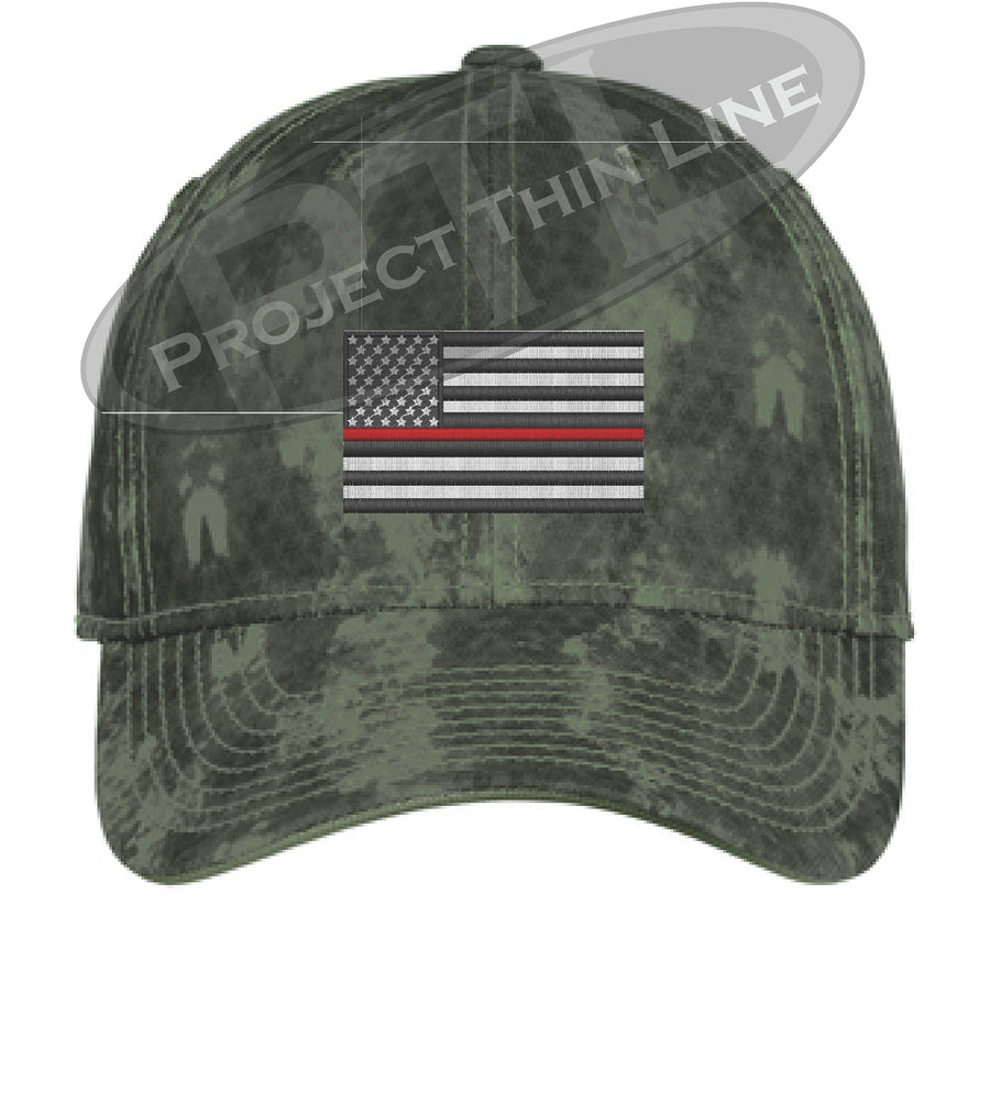 GREY Washed Camo Thin RED Line American Flag Flex Fit Fitted Hat