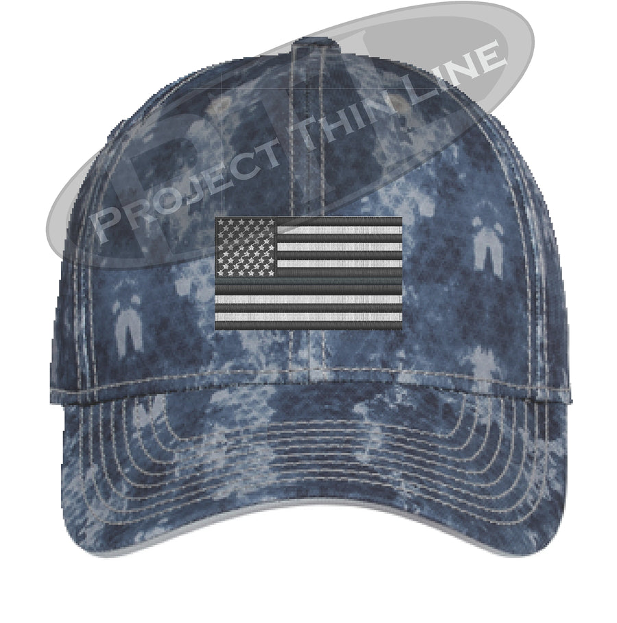 Grey Washed Camo Thin Silver Line American Flag Flex Fit Fitted Hat