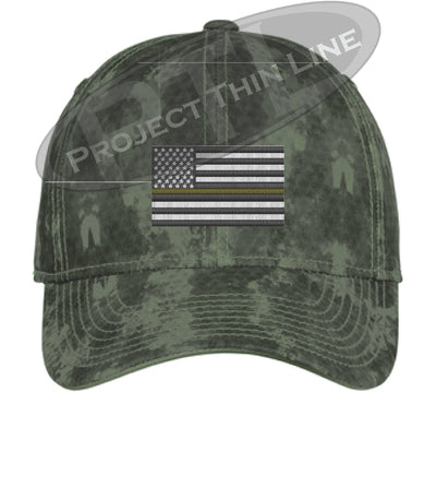 Green Washed Camo Thin Yellow Line American Flag Flex Fit Fitted Hat