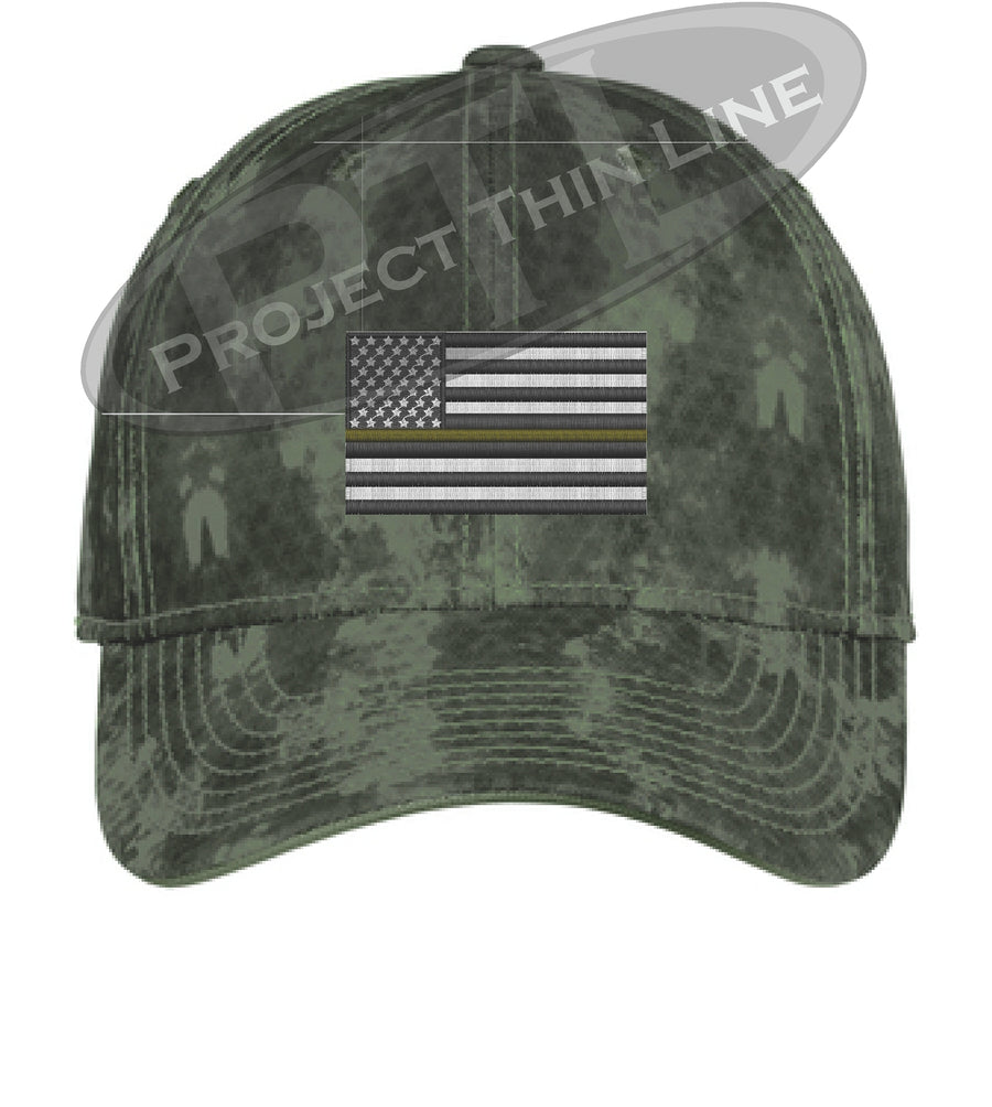 Grey Washed Camo Thin Yellow Line American Flag Flex Fit Fitted Hat