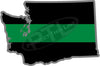 "5"" Washington WA Thin Green Line Black State Shape Sticker"