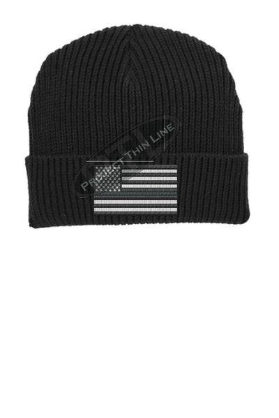 Thin SILVER Line American Flag Winter Watch Hat