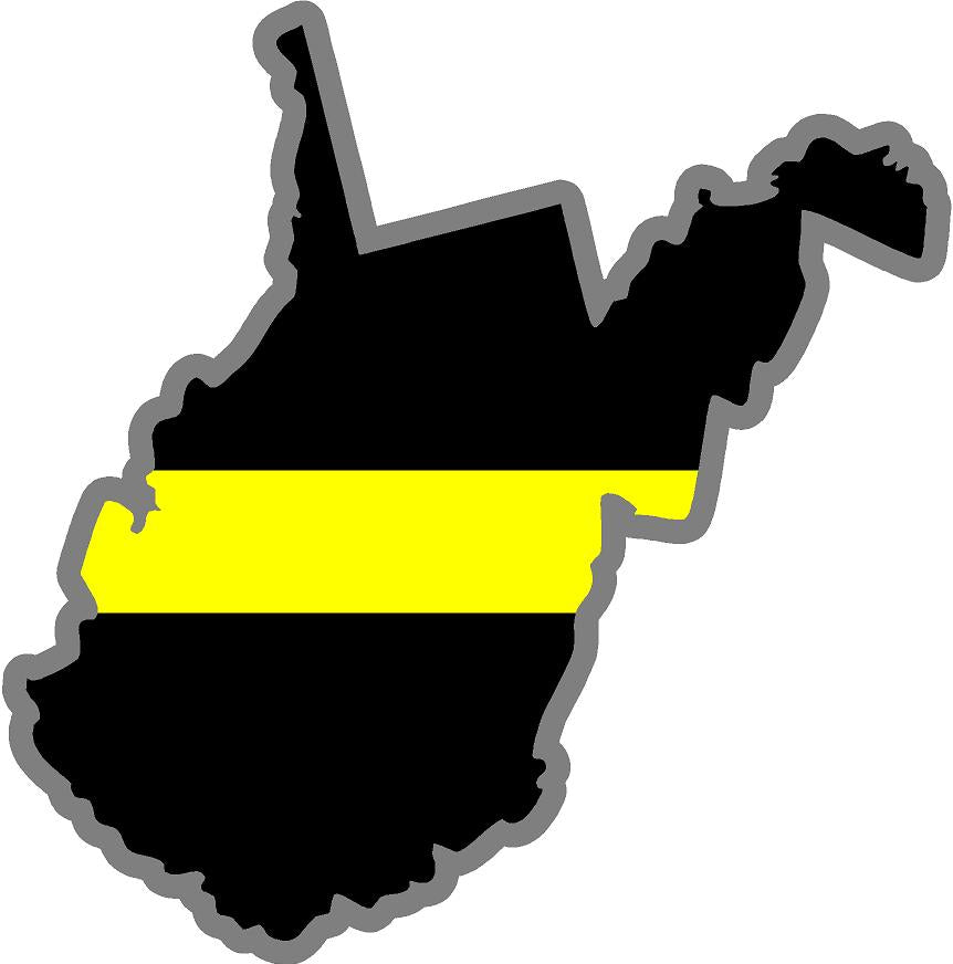 "5"" West Virginia WV Thin Yellow Line Black State Shape Sticker"