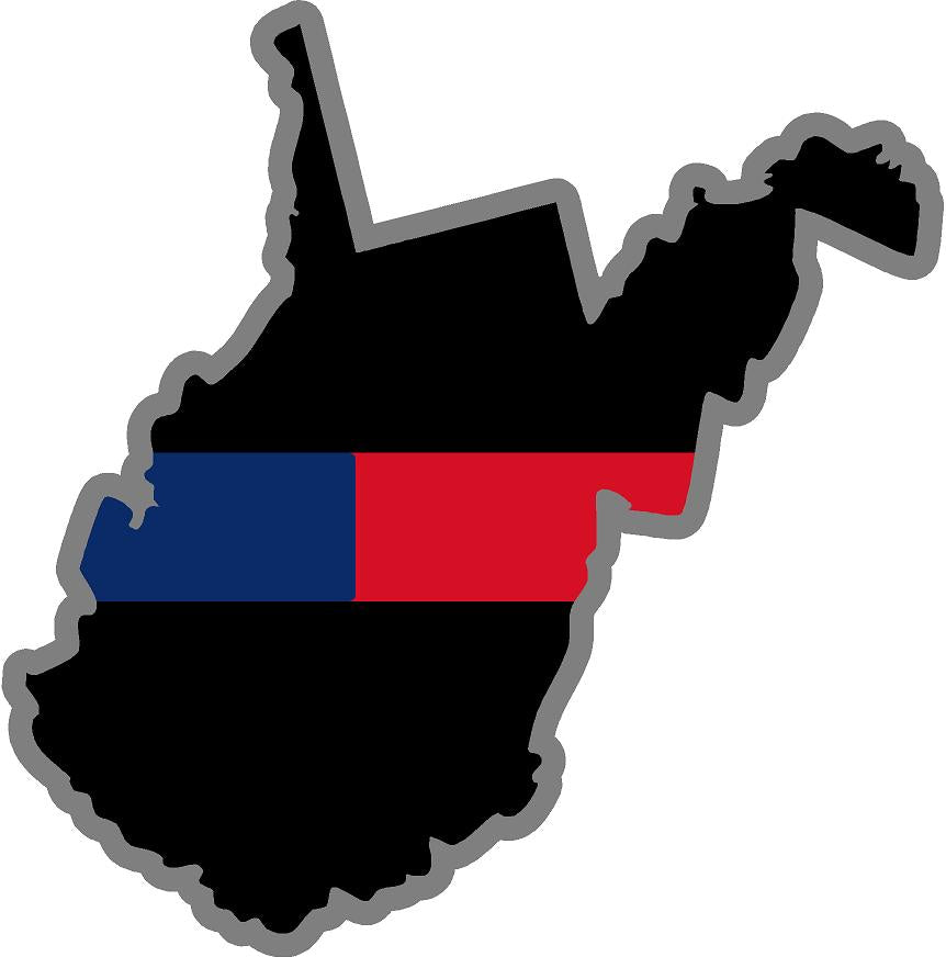 "5"" West Virginia WV Thin Blue / Red Line Black State Shape Sticker"