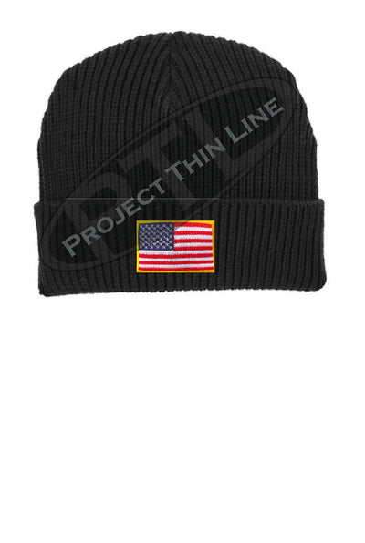 Black Winter Watch hat embroidered with the American Flag
