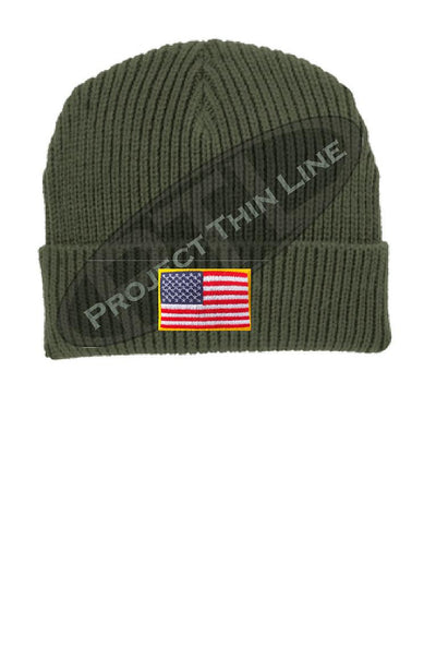Olive Green Winter Watch hat embroidered with the American Flag