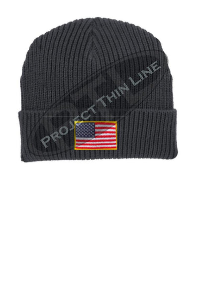 Grey Winter Watch hat embroidered with the American Flag