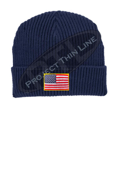 Navy Winter Watch hat embroidered with the American Flag