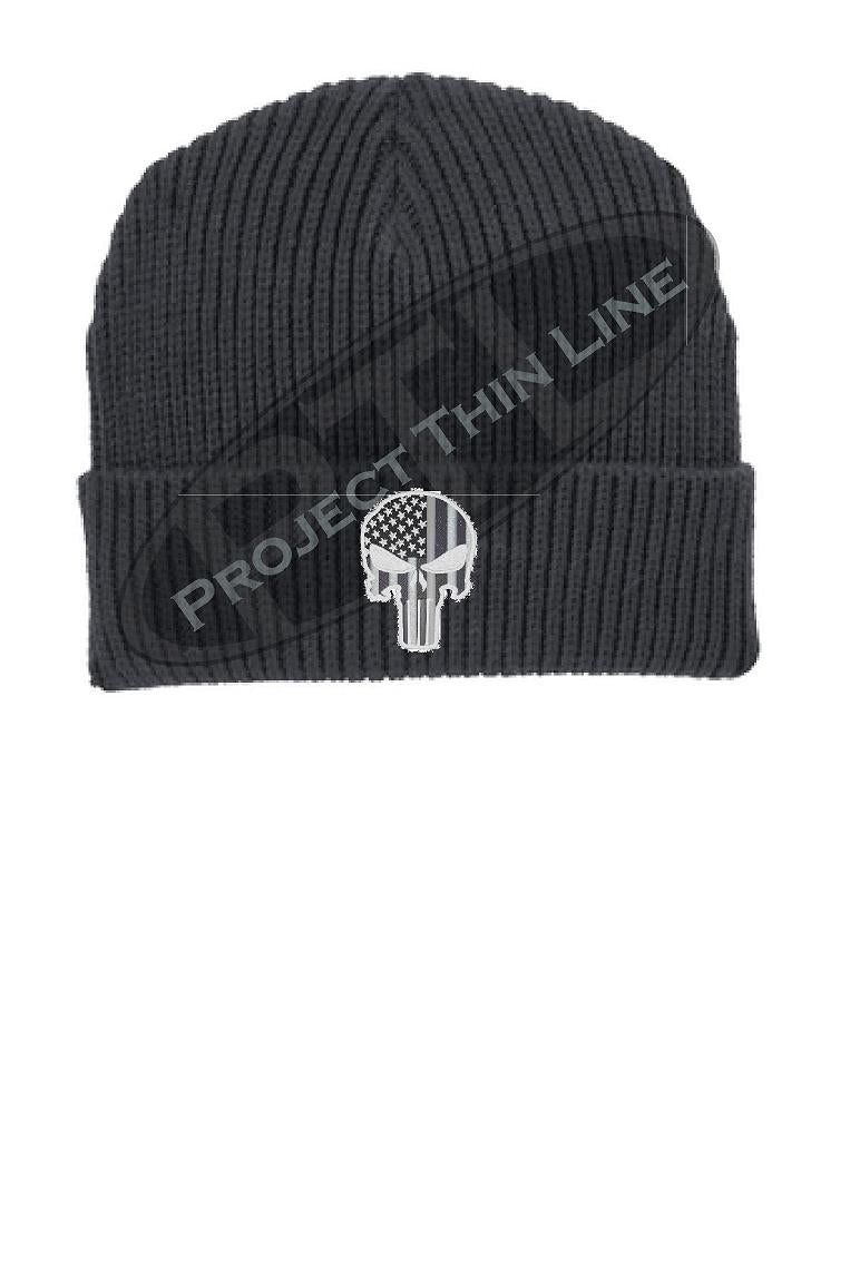 Tactical Subdued Punisher Skull with inlayed American Flag Winter Watch Hat