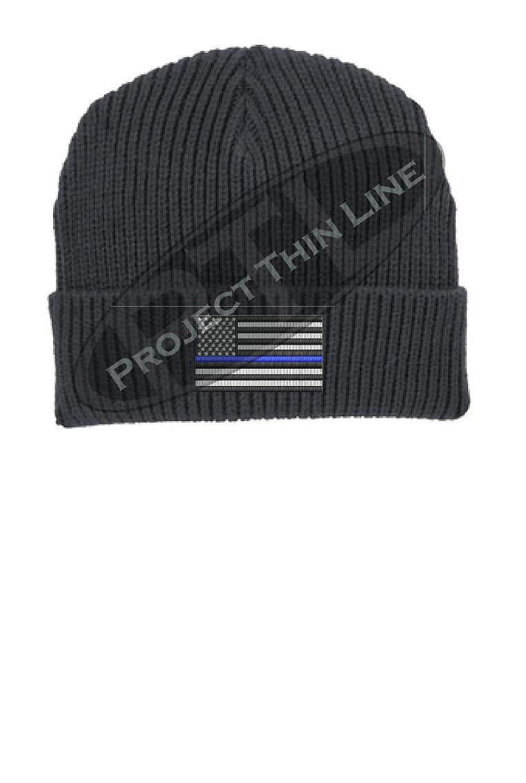 Thin BLUE Line American Flag Winter Watch Hat