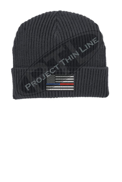 Thin BLUE / RED Line Punisher Skull inlayed with the American Flag Winter Watch Hat