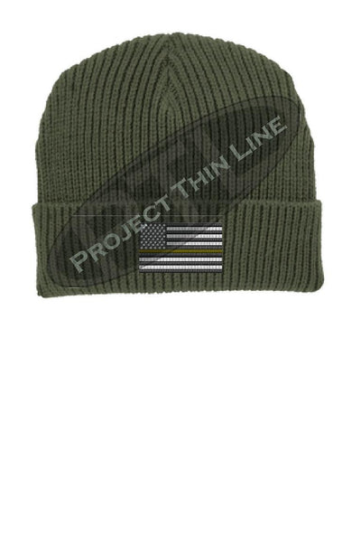 Thin YELLOW Line American Flag Winter Watch Hat